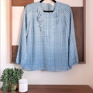J. Crew Blue Houndstooth Blouse
